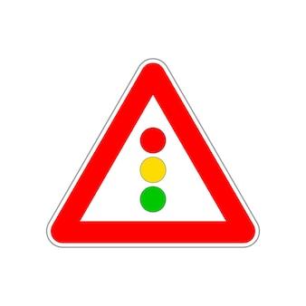 Ícone de semáforo no triângulo vermelho e branco, sinal de trânsito em branco
