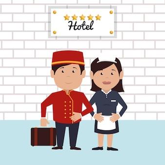 Ícone de serviço bellboy hotel isolado