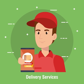 Ícone de serviço de entrega de caráter de correio