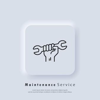 Ícone de serviços de manutenção. serviços profissionais de logotipo prático. mão segurando a chave inglesa. vetor. ícone da interface do usuário. botão da web da interface de usuário branco neumorphic ui ux. neumorfismo