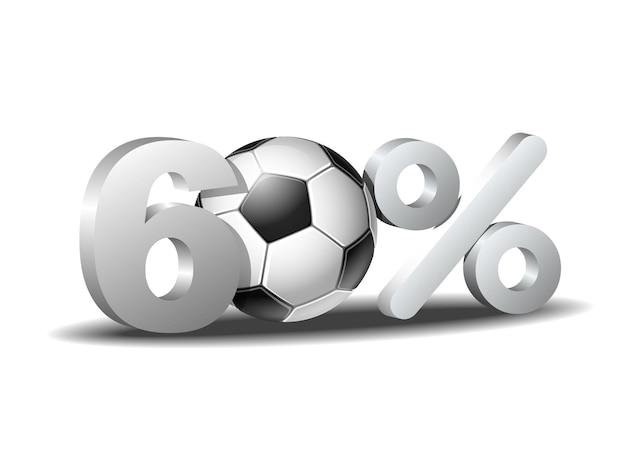 Ícone de sessenta por cento de desconto com bola de futebol