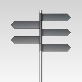 Ícone de seta de placa de sinalização de direção em branco sobre fundo