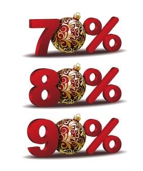 Ícone de setenta e oitenta e noventa por cento de desconto com bolas vermelhas de natal