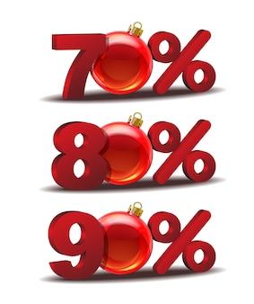Ícone de setenta, oitenta e noventa por cento de desconto com bolas de vidro de natal