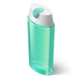 Ícone de shampoo azul em estilo isométrico em branco