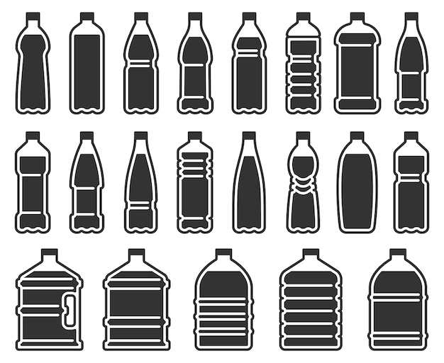 Ícone de silhueta de garrafas plásticas.