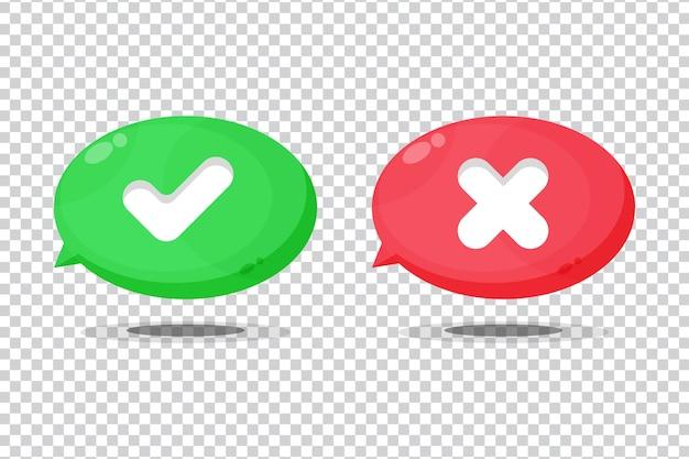 Ícone de símbolo de marca de verificação e cruz no fundo em branco
