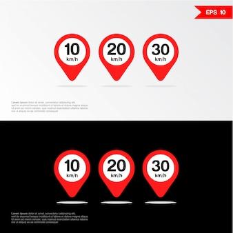 Ícone de sinal de limite de velocidade.