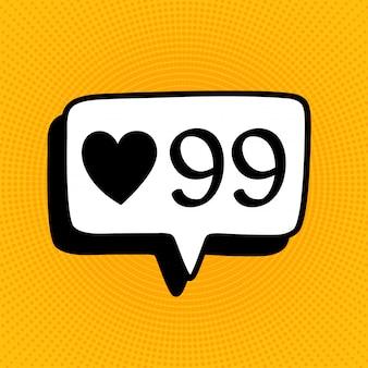 Ícone de sinal de notificação de mídia social no estilo cômico. como, comentário, siga a ilustração dos desenhos animados do vetor na reticulação amarela.
