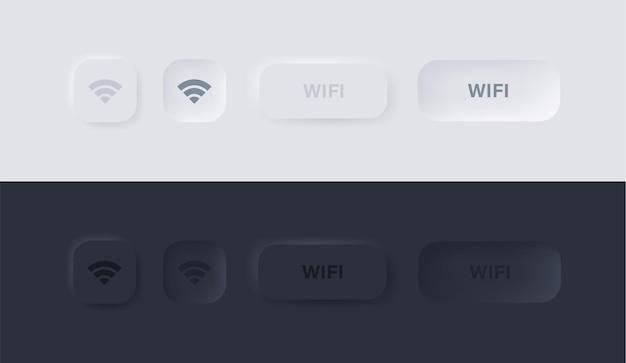 Ícone de sinal de wi-fi nos botões de neumorfismo ou internet sem fio em quadrado com interface do usuário neumórfica