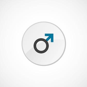 Ícone de sinal masculino 2 colorido, cinza e azul, emblema do círculo