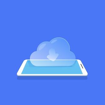 Ícone de sincronização em nuvem aplicação móvel para armazenamento de dados fundo azul plano