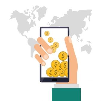 Ícone de smartphones e moedas