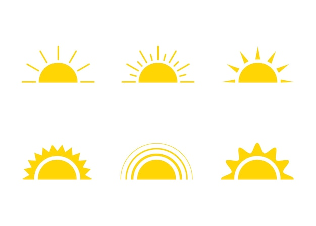 Ícone de sol amarelo luz do sol e nascer do sol ou pôr do sol sol decorativo