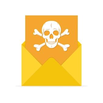Ícone de spam de correio em ilustração de design plano
