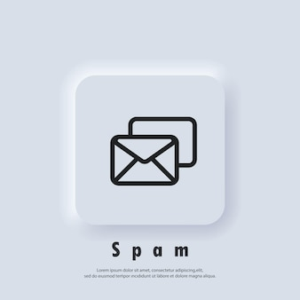 Ícone de spam. logotipo do boletim informativo. envelope. ícones de e-mail e mensagens. campanha de email marketing. vetor eps 10. ícone de interface do usuário. botão da web da interface de usuário branco neumorphic ui ux. neumorfismo