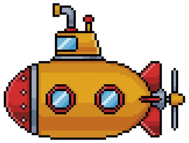 Ícone de submarino pixel art para jogo de bits em fundo branco