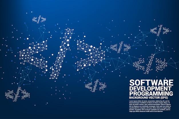 Ícone de tag de programação de desenvolvimento de software polygon