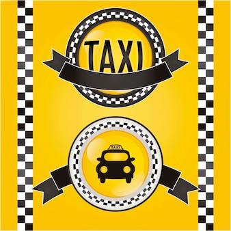 Ícone de táxi de círculo com ilustração vetorial de fundo amarelo