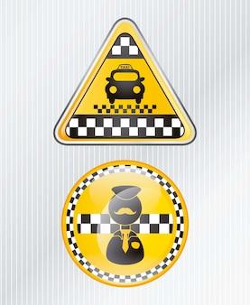 Ícone de táxi de círculo e triângulo com fundo prateado