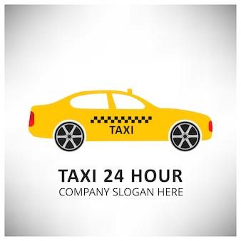 Ícone de táxi serviço de táxi 24 hour serrvice yellow taxi car fundo branco e cinza