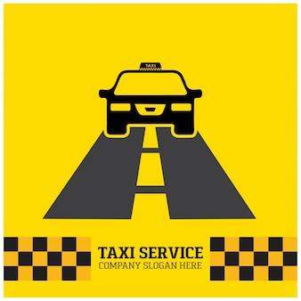 Ícone de táxi serviço de táxi carro de táxi que funciona no fundo amarelo da estrada