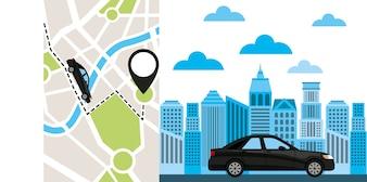 ícone de tecnologia de app de serviço de transporte