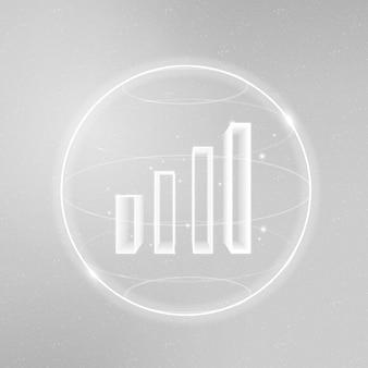 Ícone de tecnologia de comunicação de sinal wifi branco com gráfico de barras