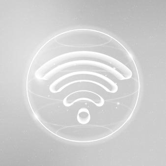 Ícone de tecnologia de internet sem fio em branco sobre fundo gradiente