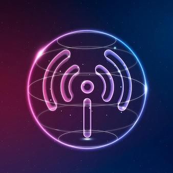 Ícone de tecnologia de rede de ponto de acesso em néon em fundo gradiente