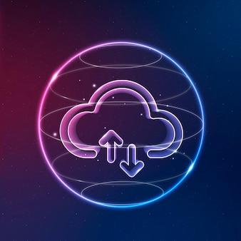 Ícone de tecnologia de rede em nuvem em néon em fundo gradiente