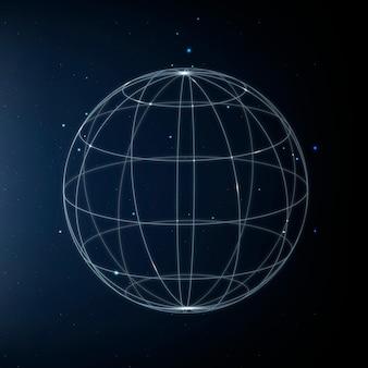 Ícone de tecnologia de rede global em azul em fundo gradiente