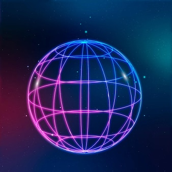 Ícone de tecnologia de rede global em néon em fundo gradiente