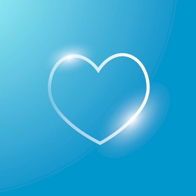 Ícone de tecnologia de vetor de coração em prata em fundo gradiente