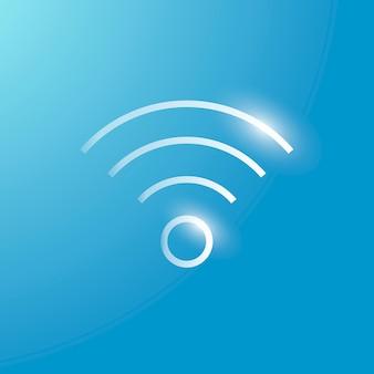 Ícone de tecnologia de vetor de internet wi-fi em prata em fundo gradiente