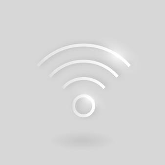 Ícone de tecnologia de vetor de internet wi-fi em prata sobre fundo cinza
