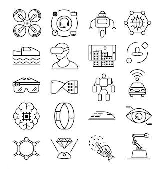 Ícone de tecnologia futura linha. ícone da ciência do futuro. ícone do computador artificial inteligente. tecnologia da informação. ícone de mão do robô