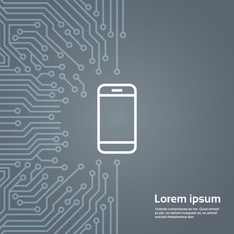 Ícone de telefone inteligente celular ao longo da bandeira de fundo de chip de computador