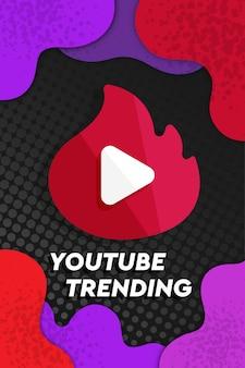 Ícone de tendências do youtube com fundo abstrato