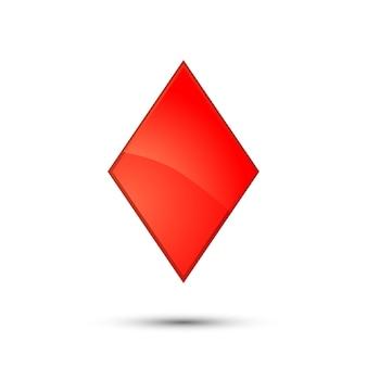Ícone de terno de cartão de diamante vermelho brilhante em branco