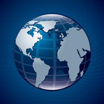 Ícone de terra sobre ilustração vetorial de fundo azul