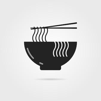Ícone de tigela preta com macarrão chinês e sombra. conceito de preparar, culinária, dieta oriental, culinária, cozinheiro. isolado em fundo cinza. ilustração em vetor design moderno logotipo tendência estilo simples