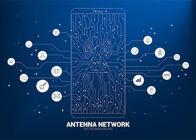 Ícone de torre de antena de vetor no celular de ponto conectar dados de estilo móveis de placa de circuito de linha