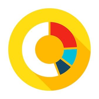 Ícone de torta de infográfico. ilustração vetorial item de círculo de estilo simples com sombra longa. análise de dados.