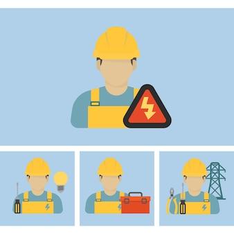 Ícone de trabalhador eletricista