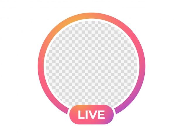 Ícone de transmissão ao vivo. moldura para foto.
