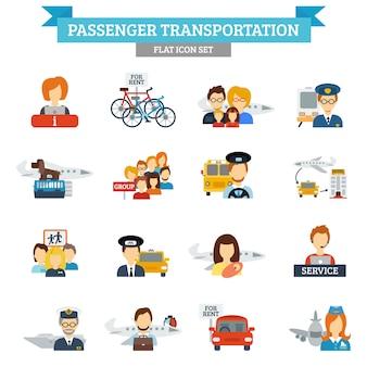 Ícone de transporte de passageiros plano