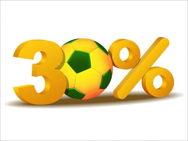 Ícone de trinta por cento de desconto com bola de futebol do brasil