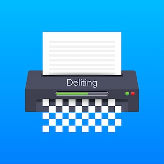 Ícone de trituradora de papel documento de proteção de informações de escritório de negócios