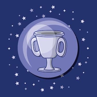 Ícone de troféu copa sobre fundo roxo
